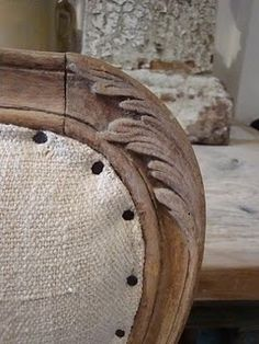 Chair Inspiration Nail Tacks instead of nail heads adds rustic charm, but I'm not too sure I like things quite this rustic! Tidbits&Twine