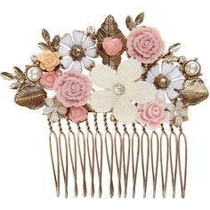 Accessorize Serina Flower Comb ($29) ❤ liked on Polyvore featuring accessories, hair accessories, hair, jewelry, fillers, pink, flower hair accessories, hair combs, pink hair accessories and hair combs accessories