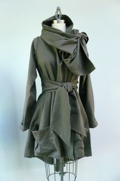 Maria Severyna Grey Twill thread Trench Coat with Leather buttons by MariaSeveryna on Etsy https://www.etsy.com/listing/72838940/maria-severyna-grey-twill-thread-trench