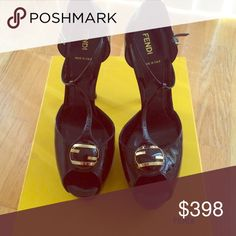 """FENDI black patent heel FENDI! Brand new with box! Black patent leather open toe heel with t-strap. 5.5"""" heel with platform. Size 39.5. In perfect condition and never worn. FENDI Shoes Platforms"""