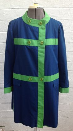 Vintage 1960s Eastern Airlines Stewardess Uniform Coat, Navy and Green, Size 8