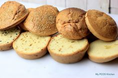 Amazing low carb Keto Buns that are gluten and dairy-free! These buns are perfect for hamburgers, sandwiches or toasts! They're 2g net carbs per bun and do