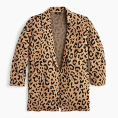 Crew Sophie open-front sweater-blazer in leopard - ShopStyle Plus Jackets Crew Clothing, Fall Looks, Cashmere Sweaters, Fall Outfits, Preppy Outfits, J Crew, Blazer, Clothes For Women, My Style