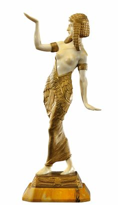 Gilded bronze and ivory sculpture by Emile Monier, France c. 1925