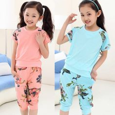 New 2014 Kids Clothes Set Fashion Children Sports Clothing Sets Girls Tracksuit Brand Children's Wear Short  Sleeve TShirt Pants $27.53