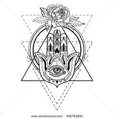 stock-vector-vector-drawing-of-a-hamsa-hand-with-all-seeing-eye-and-rose-flower-hand-of-fatima-adult-coloring-500762881.jpg (450×470)
