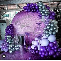 This color combo 😍 by: 16th Birthday Decorations, Purple Party Decorations, Bachelorette Decorations, Bridal Shower Decorations, 50th Birthday Party, Birthday Balloons, Girl Birthday, Balloons Galore, Purple And Gold Wedding