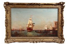 """FELIX FRANCOIS GEORGES PHILIBERT ZIEM (France, 1821-1911) - Large Ship Arriving, The Basin, oil on canvas, signed lr. In an ornate gold frame with reticulated matched corners. OS: 24 1/2"""" x 35 1/2"""". SS: 18"""" x 29"""". Cleaned & relined, two small scuffs. Repair to corner of frame."""