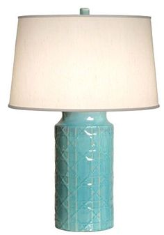 Lamp possibility #3 for the coral and gray and blue master bedroom I'm working on.  cane lamp emissary turquoise blue decor. Clayton Gray Home.