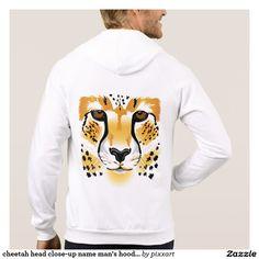 cheetah head close-up name man's hoodie