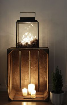 """My """"fake"""" fireplace, old woodbox, Candles, lights, Winter Mood,"""