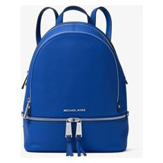 MICHAEL Michael Kors Rhea Medium Leather Backpack (3,075 MXN) ❤ liked on Polyvore featuring bags, backpacks, real leather backpack, blue leather bag, ipad backpack, leather daypack and leather rucksack