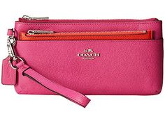COACH 52334 ZIPPY WALLET WITH POP-UP POUCH IN EMBOSSED TEXTURED LEATHER in FUSHIA PINK ** For more information, visit image link.