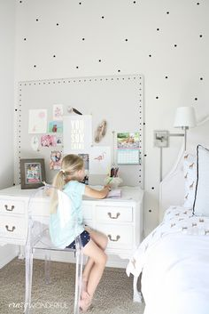 Crazy Wonderful: girl's bedroom, neutral girl's room, black and white girl's bedroom, girl's room desk, desk as nightstand, white writing desk, ghost chair, DIY large pin board, girl's pin board, polka dot wall decals