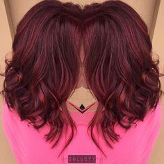 Red violet balayage and long bob haircut