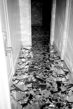 Broken mirror floor, i like how the light reflects off of it and makes shadows.