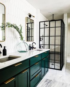 Emerald green bathroom cabinets with white tiled walls and black glass panel shower doors for interior design inspiration. Bathroom Tile Designs, Bathroom Interior Design, Home Interior, Bathroom Ideas, Bathroom Organization, Funny Bathroom, Interior Livingroom, Shower Designs, Budget Bathroom