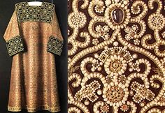 Russian traditional fancywork for noble suits, the 14-16th century. It was common to use golden knitting, river pearls, jewels.