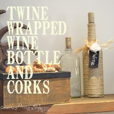 Twine wrapped wine bottle #twine #DIY #winebottle http://countrydesignstyle.com