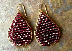 Gold filled wire wrapped garnet earrings by VivianRDesigns on Etsy
