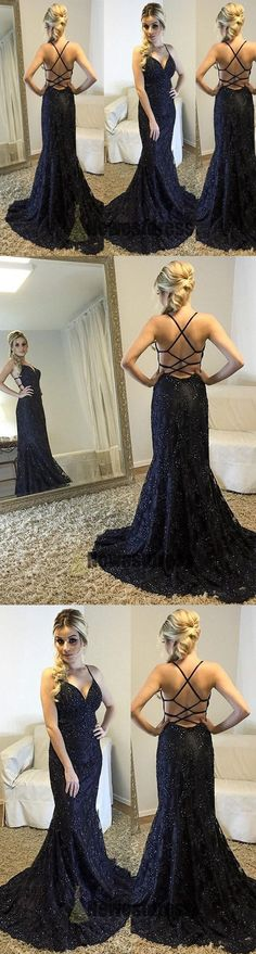Spaghetti Straps V-Neck Black Mermaid Sparkly Sexy Beads Tulle Unique Prom Dresses UK This dress could be custom made, there are no extra cost to do custom size and color Long Prom Dresses Uk, Mermaid Prom Dresses Lace, Elegant Party Dresses, Straps Prom Dresses, Unique Prom Dresses, Prom Party Dresses, Party Gowns, Dress Party, Homecoming Dresses