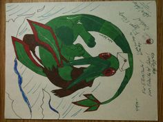 An old picture of the Pokemon Flygon. This was done for one of my siblings as gift art. Done with Bic markers, and a silver gel pen. This will be re-done soon.  -2013-