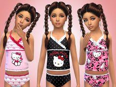 Set of 6 girls bright fun hello kitty swimsuits for swimwear  Found in TSR Category 'Sims 4 Female Child Swimwear'