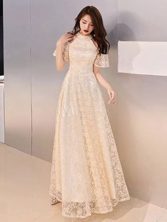 Evening Dresses Champagne Lace Cold Shoulder Floor Length Prom Dress Indian Gowns Dresses, Unique Prom Dresses, Pretty Dresses, Homecoming Dresses, Beautiful Dresses, Lace Evening Dresses, Dress Lace, Robes Quinceanera, Robes D'occasion