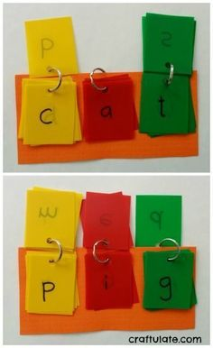 These fun reading games are quick to make - and so effective for learners in kindergarten and first grade! Such a great addition to your language arts instruction. Phonics Activities, Learning Activities, Kids Learning, Baby Activities, Teaching Resources, Learning Phonics, Learning Spanish, Reading Stations, Reading Centers