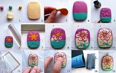 How to make hidden magic flower, polymer clay tutorial, pendant DYI
