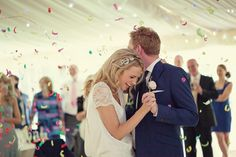 Have confetti thrown during your first dance!  See more images at http://www.mariannetaylorphotography.co.uk/blog/category/wedding/