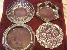 Clear Glass Ashtrays Trinket Dish Lot of 4 by SevenSistersBooks