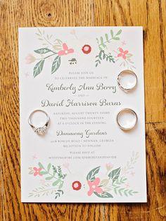 floral wedding invitations, photo by Amy Arrington http://ruffledblog.com/georgia-wedding-with-the-ultimate-naked-cake #weddinginvitations #stationery