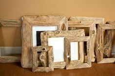 DIY Photo Frames - In this article will give you some ideas for handmade picture frames that might appeal to you or inspire you for your own projects. Diy Design, Reclaimed Wood Mirror, Photo Frame Design, Wood Picture Frames, Wood Frames, Diy Holz, Photo On Wood, Cool Diy Projects, Wood Art