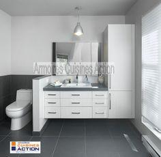 Chocolat blanc... c'est la couleur de la mélamine . Vanité suspendue pour lui donner un look particulier.. Bathroom Renovations, Home Remodeling, Bathroom Inspiration, Bathroom Ideas, Design Bathroom, Bathroom Vanities, Upstairs Bathrooms, Particle Board, Dressing Table