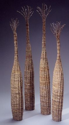 """Party Mix"" by fiber artist Polly Jacobs Giacchina. Date palm units), 38 x 14 x 11 in. via ArtPropelled. Textile Sculpture, Abstract Sculpture, Textile Art, Sculpture Art, Willow Weaving, Basket Weaving, Woven Baskets, Land Art, Contemporary Baskets"