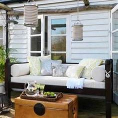 You paid more than me: DIY Outdoor daybed. Outdoor Sofa, Outdoor Rooms, Outdoor Living, Outdoor Furniture, Outdoor Decor, Outdoor Cushions, Outdoor Fabric, Furniture Plans, Indoor Outdoor