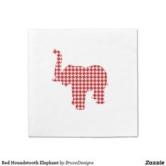 Red Houndstooth Elephant Napkin