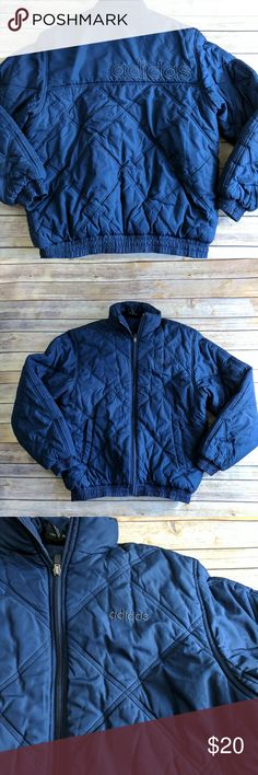 Adidas Puffer Quilted Coat Classic Adidas style, total blue, short style puffer. This is, IMO, a unisex jacket. A S for a man and L for a woman. It's particularly cute as an oversized coat for a woman. I love that there is a place for your Walkman! In excellent vintage like condition. adidas Jackets & Coats Puffers