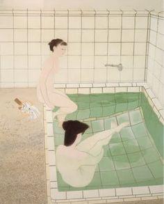 """sumi-no-neko: """"小倉 遊亀 Yuki Ogura Bathing Women I, 1938 """" Woman Illustration, Japanese Illustration, Japanese Painting, Art Graphique, Japan Art, My Tumblr, Vintage Japanese, Japanese Modern, Japanese Style"""