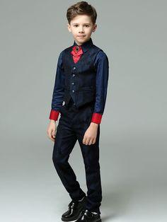 Printing Suits&Blue Shirts&Full Length Pants&Printing Vest&Cravat
