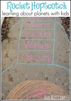 Hopscotch for Learning About Planets Exploring outer space with rocket shaped hopscotch. A fun way to learn about planets from And Next Comes LExploring outer space with rocket shaped hopscotch. A fun way to learn about planets from And Next Comes L Outer Space Activities, Space Games For Kids, Outer Space Crafts, Outer Space Theme, Gross Motor Activities, Learning Activities, Activities For Kids, Learning Spaces, Nature Activities