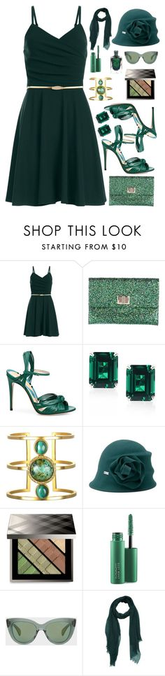 """""""Shades Of Green"""" by majezy ❤ liked on Polyvore featuring Anya Hindmarch, Gucci, CARAT* London, Betmar, Burberry, MAC Cosmetics and Paul Smith"""