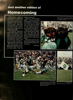 """Athena Yearbook, 1990. Ohio University Homecoming, """"the Bobcat entertained at Peden stadium as OU's football team defeated Kent State"""", Fall 1989, Ohio University Archives"""
