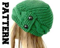 Etsy :: Your place to buy and sell all things handmade Cable Knit Hat, Knitted Beret, Knitting Stitches, Hand Knitting, Popular Hats, Knitting Patterns, Crochet Patterns, Winter Knit Hats, Diy Hat
