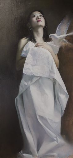 Wang Neng Jun (王能俊), oil on canvas {contemporary figurative realism art beautiful female dove standing woman painting} wangnengjun.blog.artron.net