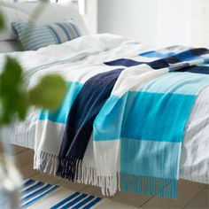 Brera Scacco Indigo Blanket | Designers Guild USA