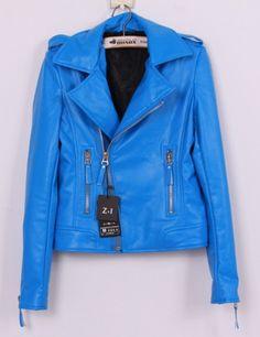 Wanna this one » Wholesale Hot & Trendy Pure Color Zipper Lapel Short Coat----Blue top dresses
