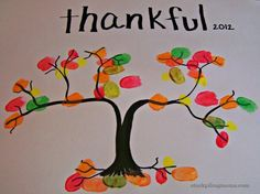 Thankful Thumbprint Tree Craft is a great craft idea for Thanksgiving!