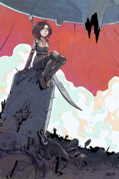 Cyberpunk Girl, Arte Cyberpunk, Alita Battle Angel Manga, Yandere Manga, Drawing Sketches, Drawings, Mecha Anime, Figure Drawing Reference, Warrior Girl